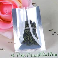 12x17cm простой карман, 200 x верхние открытые полупрозрачные мешки из алюминиевой фольги, передняя прозрачная металлическая алюминированная фольга