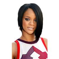 흑인 여성을 위한 WoodFestival 짧은 가발 자연적인 싼 합성 머리 가발 똑바른 35cm 까만 가발 앞머리 방열 섬유