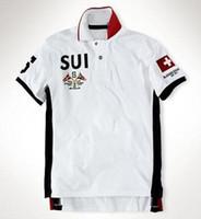 Fornecimento Suíça SUI EAU camisa polo homens novos casuais camisas de verão polo dos homens de algodão suíço Estados Unidos Impresso