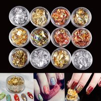 12 Pot / Set Nail Art Or Argent Paillette Flake Chip Foil Kit Acrylique Gel Polish Conseils 3D DIY Design Image Transfer Sticker Decal