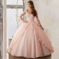 2017 Sexy Long Sleeves Ball Gowns Lace Quinceanera Dresses W...