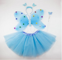 Wholesale-Free shipping,pink green 4pcs in a set princess butterfly wing set costume(wing,headband,fairy wand and tutu /Party accessories