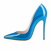 Zandina Senhoras Artesanais Moda ASO-kate 120mm Dedo Apontado Do Partido Clássico Magro Bombas de Salto Sapatos Stiletto Azul K417