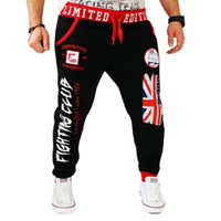 Leisure Men' s trousers British national flag printing D...