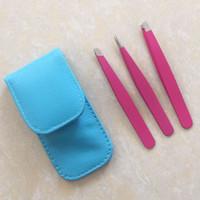 NUOVO 3Pcs in acciaio inox pinzette del sopracciglio Set 9,6 centimetri di rimozione Slant Tip Tip Point punta piatta Rosa Pinzetta per capelli Face Beauty