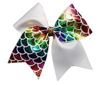 7 estilo de LA VENTA CALIENTE 8 pulgadas Sirena Scales Cheer Bow Cheerleading Dance Hair Bow CON GOMA BAND Ponytail holder para adolescentes niñas niños 24 unids /