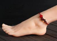 Retro windscent güller moda basit el dokuması kırmızı halat halhal