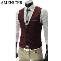 Wholesale- Mens Suit Vest Korean British Style Business Dress Suits Sleeveless Vests Wine Red Slim Fit Gilet Tactical Male Winter Jacket