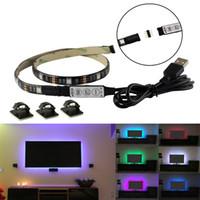 5V USB RGB LED полосы света TV черный PCB водонепроницаемый 1m 30leds SMD 5050 с RGB мини-контроллер для компьютерного корпуса ПК фон