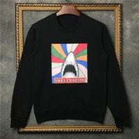 Sokak fshion tatlı rüyalar Köpekbalığı baskılar tişörtü Yanıp Sönen gökkuşağı kapı hoody boy Tişörtü