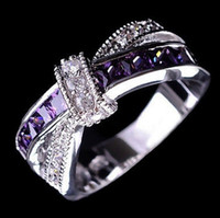 Fashion White Black Gold Filled Purple Crystal Cross Ring Je...
