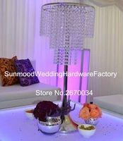 Sıcak satış kristal altın / şerit ayağı çiçek standı veya geçit düğün için dekoratif düğün centerpieces