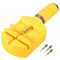 Enlace de reloj amarillo de 28 mm para correa de hendidura de banda Pulsera Cadena Perno removedor Ajustador Kit de herramienta de reparación + 3 pines de repuesto