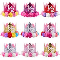 Hot New Baby 1/2 Anniversaire Sparkly Party Couronne Artificielle Rose et Crémeux Rose Fleurs Tiara Bandeau HJ147