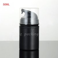 (40 unids / lote) 50 ml vacío Negro botella de bomba de emulsión de vacío 50g bomba sin aire botellas de cosméticos, envase de loción con bomba sin aire
