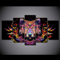 5 Pcs Set Framed HD Printed Color Wolf Head Wall Canvas Art ...