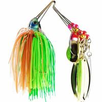 6 unids / set Spinner Bait Metal Lure con silicona faldas Willow Blade Spinnerbait Pike Bass Jig Head Caucho de agua salada señuelo de la pesca