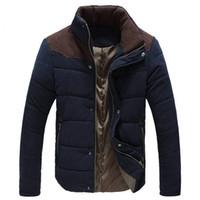 Venta al por mayor- Cálidas chaquetas de invierno para hombres Wadded Parkas Campera Hombre Invierno Invierno 2016 Otoño Slim Fit Men's Cotton-Pedded Chaqueta Abrigo
