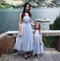 Ankle length tulle mother and daughter party dresses with sa...