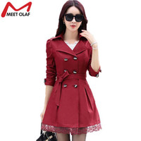Atacado- 2017 Mulheres Trench Coat Lace Slim Double-Breasted Trenchcoat Female Casual Windbreaker Outwear Raincoat Plus Size Lady Coats Y015