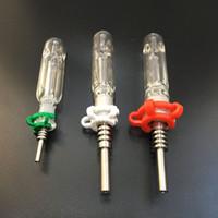 10mm / 14mm / 19mm Gr2 티타늄 손톱 오일 장비 농축제 또는 석영 팁을 가진 마이크로 NC 유리 물 파이프