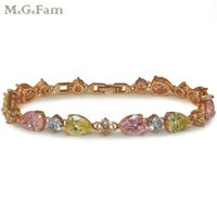 (247B) M. G. Fam (17cm+ 2cm ) 18k Gold Plated Multicolor Clear ...