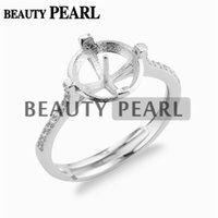 5 Pieces Pearl Ring Base Settings 10mm Round Cabochons Zirco...