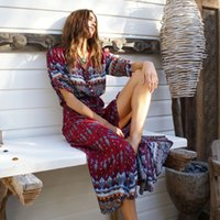 2017 new Bohemian printing long dress women maxi long dress ...