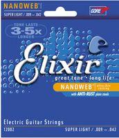 3 set / lotto Elixir 12002 Nanoweb corde per chitarra elettrica ultra sottile rivestimento Super Light 009-042 pollici Trasporto libero strumenti musicali