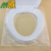 50 unids / cartón de seguridad de viaje de plástico desechable asiento de inodoro cubierta impermeable limpieza hatlth antideslizante 40 * 48 cm