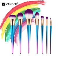 Vander Pro 8pcs Set Rainbow Makeup Brushes Purple Concealer ...