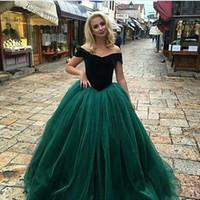 الحبيب قبالة الكتف الظلام الأخضر فساتين السهرة الطويلة منتفخ تول الأميرة اللباس الرسمي المخملية أثواب التخرج vestido دي نوش