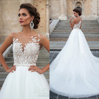 Newest 2020 Wedding Dresses Sexy Scoop Neck Sleeveless A Lin...
