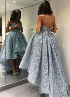 2017 el más nuevo alto-bajo vestido de fiesta 3D apliques florales cariño azul noche vestido de fiesta vestido de fiesta vestido