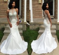 Sparkly Beaded Rhinestone Prom Dresses White Mermaid Evening...