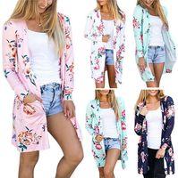 Florales chaquetas de invierno rebecas blusa ocasional Outwear el suéter flojo de la vendimia de las mujeres abrigos de punto Tops Pullover Puente OOA3218
