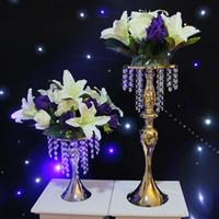 Moda Luxxury Düğün Masa Centerpieces Metal Çiçek Vazo Cystal Vitrin DIY Çelenk Ekran Kek Standı Çiçek Yolu Kurşun