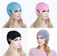 Newest Knitted Hat Gorros Women Hat Leaves Lace Button Wool ...