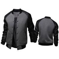 Мода Черная Куртка Весна Мужская Односморожая Кожа PU Кожаный Лоскуж Бейсбол Куртка Бренд Грей Куртки Бесплатная Доставка