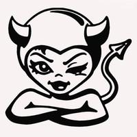 9 ألوان لطيف امرأة الشيطان الوحش ملتوية ابتسامة مضحك سيارة ملصقا ل شاحنة suv النافذة الوفير السيارات الباب كاياك الفكاهة الفينيل صائق jdm