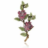Toptan-Kristal Rhinestone Gül Çiçek Broş Pin Metal Ağacı Şubesi Vintage Moda Takı Kadın Konfeksiyon Aksesuar Bırakır