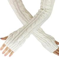 Frühling Herbst Frauen Wolle Armlinge Wintermode Fingerlose Handschuhe Knopf Strickhandschuh Lange Handschuhe guantes taktische Handschuhe