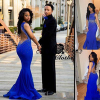 Royal Blue Backless Mermaid Prom Dresses 2017 Sexy Sheer Neck Crystal Beaded Tulle Raso nero Ragazze Party Abiti lunghi abiti ritorno a casa