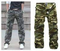 Atacado-Frete Grátis 2016 Novos Homens Primavera outono algodão Moda Casual Solta Geral Trabalho Exército Carga Camuflagem Calças Jeans Calças