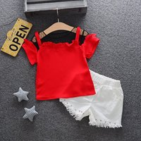 Sale 2pcs Set Girls Outfit Off shoulder Top and Shorts Set S...