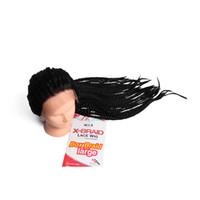 Royaume-Uni États-Unis UE Epacket au Brésil boleto perruques avant cheveux perruques de dentelle tressée brazilian 22inch 3x tresses boîte perruques synthétiques noir pour les femmes