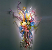 Creative Art Glass Wall Sconce Multicolor Flower Indoor Wall...