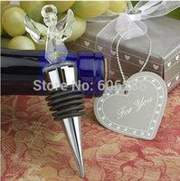 Único partido convidado presentes anjo rolha de garrafa de vinho de cristal favores do casamento e presentes para o convidado 100 pcs atacado frete grátis
