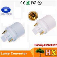 4 핀 G24Q 남성 - E26 암컷 GX24Q-1 GX24Q-2 GX24Q-3 4 핀식 GX24 - E27 어댑터 GX24 - E26 램프 홀더 변환기