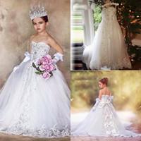 Glitz kleine Mädchen Blumenmädchenkleider ärmellos von der Schulterkommunion Kleider mit großer Bogen-Schnürung zurück Prinzessin Pageant Kleider